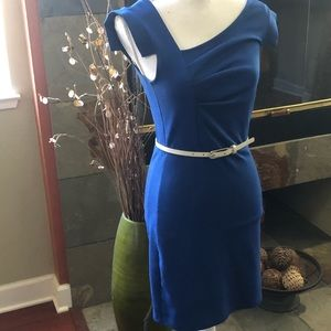 Bebe Blue Office Dress W/Beige Belt
